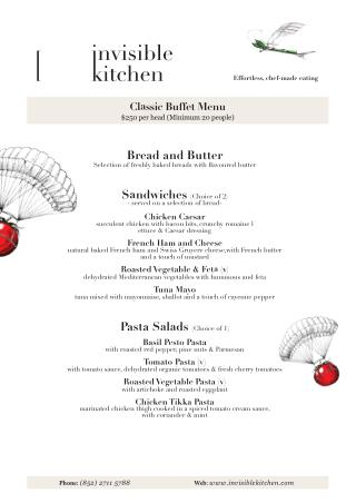 Invisible Kitchen Hong Kong | Classic Buffet Menu
