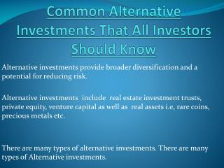 Common Alternative Investments That All Investors Should Know