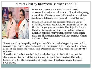 Master Class by Dharmesh Darshan at AAFT