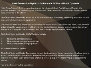Next Generation Dyslexia Software is Offline - Ghotit Dyslexia