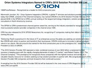 Orion Systems Integrators Named to CRN's 2016 Solution Provider 500 List
