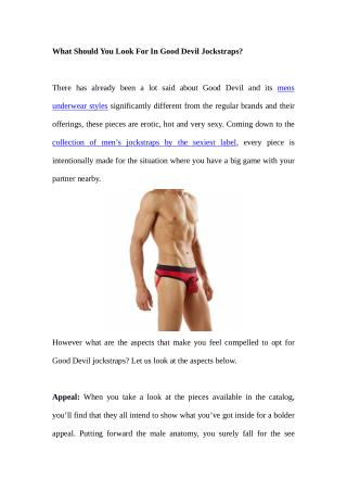 What Should You Look For In Good Devil Jockstraps?