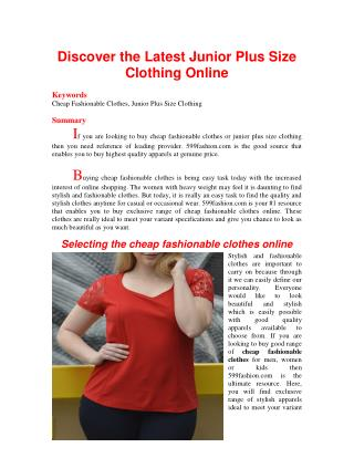 Discover the Latest Junior Plus Size Clothing Online