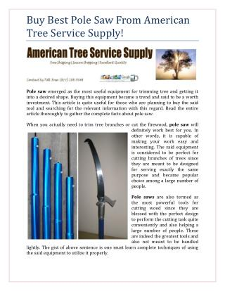 Buy Best Pole Saw From American Tree Service Supply!