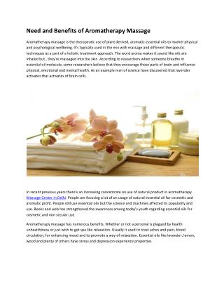 Need and Benefits of Aromatherapy Massage