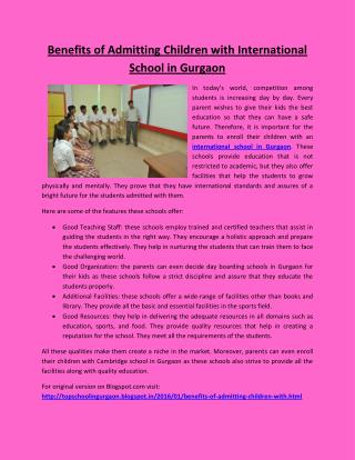 Benefits of Admitting Children with International School in Gurgaon