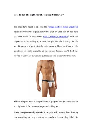 How To Buy The Right Pair of Jockstrap Underwear?