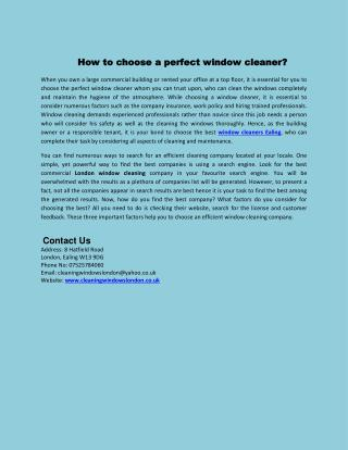 How to choose a perfect window cleaner?