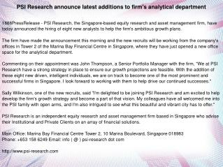 PSI Research announce latest additions to firm's analytical department