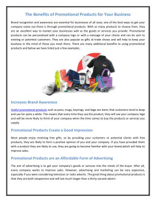 The Benefits of Promotional Products for Your Business