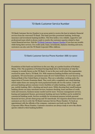 TD Bank Customer Care Number