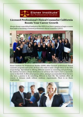 Licensed professional clinical counselor California boosts your career growth