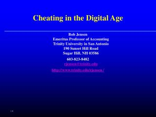 Cheating in the Digital Age