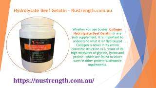 Hydrolysate Beef Gelatin - Nustrength.com.au