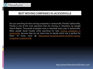 Find Moving Companies in Jacksonville, Florida