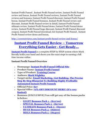 Instant Profit Funnel review - EXCLUSIVE bonus of Instant Profit Funnel