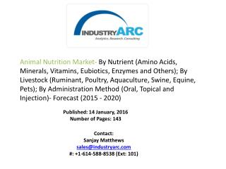 Animal Nutrition Market Analysis - Forecast to 2020