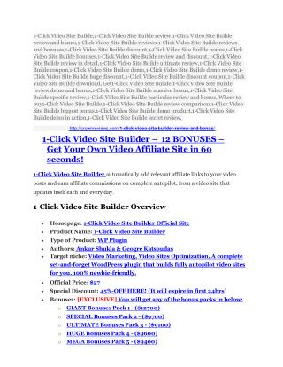 1-Click Video Site Builde review and sneak peek demo
