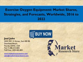 Exercise Oxygen Equipment Market 2016: Global Industry Size, Share, Growth, Analysis, and Forecasts to 2021
