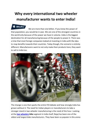 Why every international two wheeler manufacturer wants to enter India