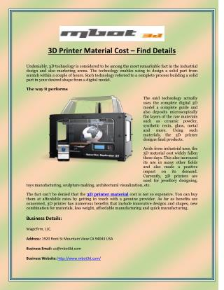 3D Printer Material Cost – Find Details
