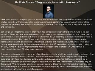 Dr. Chris Boman: