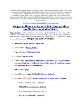 Origin Builder review - A top notch weapon
