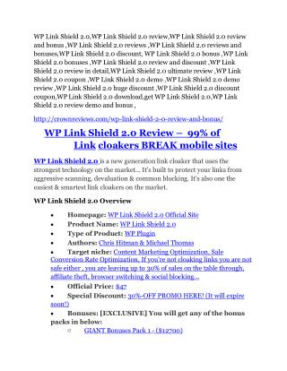 WP Link Shield 2.0 review - 65% Discount and FREE $14300 BONUS