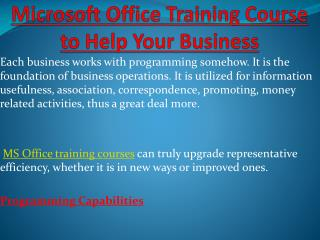 Microsoft Office Training Course to Help Your Business