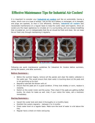 Effective Maintenance Tips for Industrial Air Coolers!