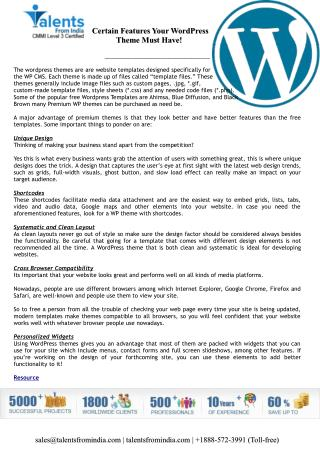Certain Features Your WordPress Theme Must Have!
