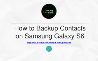 How to backup contacts on Samsung Galaxy S3/4/5/6/7