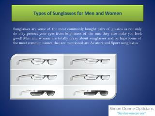 Types of Sunglasses for Men and Women