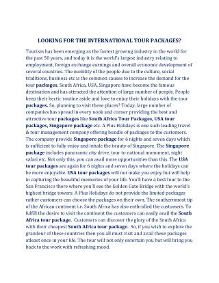 LOOKING FOR THE INTERNATIONAL TOUR PACKAGES?
