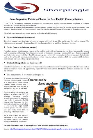 Some Important Points to Choose the Best Forklift Camera Systems