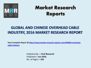 Global and Chinese Overhead Cable Market Analysis and Forecasts to 2021