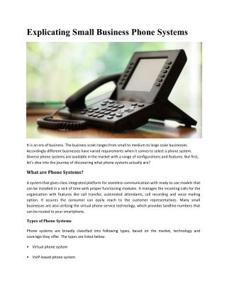 Explicating Small Business Phone Systems