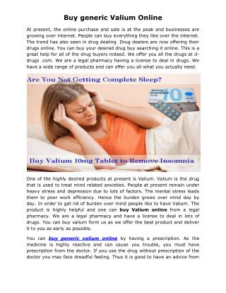 Buy generic Valium online