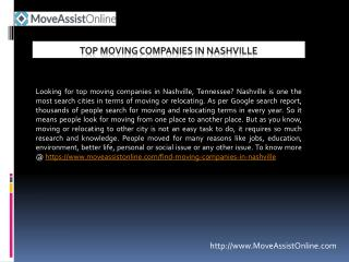 Top Moving Companies in Nashville