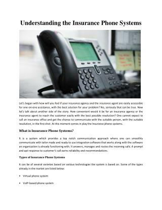 Understanding the Insurance Phone Systems