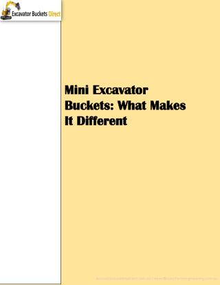 Mini Excavator Buckets: What Makes It Different