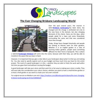 The Ever Changing Brisbane Landscaping World