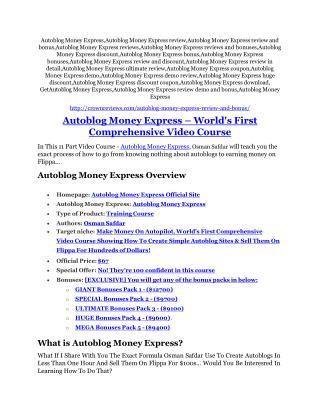 Autoblog Money Express Review and (MASSIVE) $23,800 BONUSES
