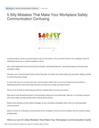 5 Silly Mistakes That Make Your Workplace Safety Communication Confusing