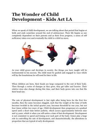 The Wonder of Child Development - Kids Act LA