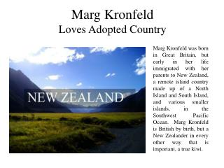 Marg Kronfeld Loves Adopted Country