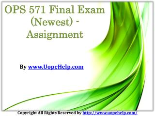 OPS 571 Final Exam Assignment