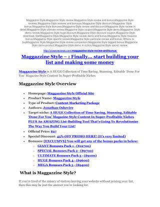 Maggazzine Style review and MEGA $38,000 Bonus - 80% Discount