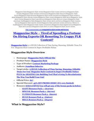 Maggazzine Style review-SECRETS of Maggazzine Style and $16800 BONUS