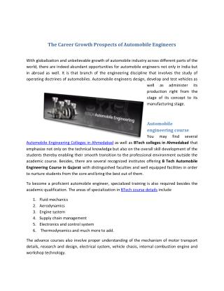 The Career Growth Prospects of Automobile Engineers